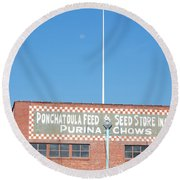 Round Beach Towel featuring the photograph Feed Store by Charlotte Schafer