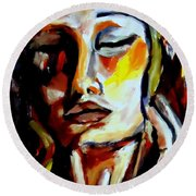Round Beach Towel featuring the painting Feel by Helena Wierzbicki