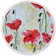Feel The Summer 1 - Poppies Round Beach Towel