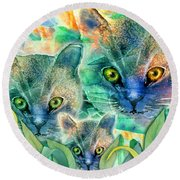 Round Beach Towel featuring the painting Feline Family by Teresa Ascone