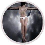 Female Christ In The Sky Round Beach Towel