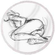 Female-erotic-sketches-8 Round Beach Towel