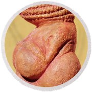 Female Figurine Known As The Venus Of Willendorf, Side View Detail Of Torso, Gravettian Culture Round Beach Towel