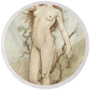 Female Nude With Grapes Round Beach Towel