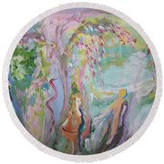 Round Beach Towel featuring the painting Female Persuasion by Judith Desrosiers