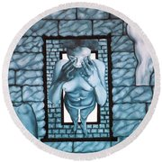 Round Beach Towel featuring the painting Female's Gray World by Fei A