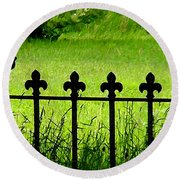 Fence And Cross Round Beach Towel