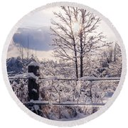 Fence And Tree Frozen In Ice Round Beach Towel