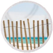 Fence On The Beach Round Beach Towel by Shelby  Young