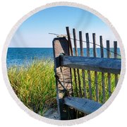 Round Beach Towel featuring the photograph Fence With A Great View by Mike Ste Marie