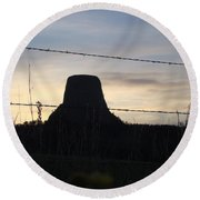 Round Beach Towel featuring the photograph Fencing Devil's Tower by Cathy Anderson