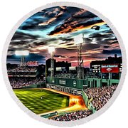 Fenway Park At Sunset Round Beach Towel