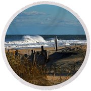 Fenwick Dunes And Waves Round Beach Towel