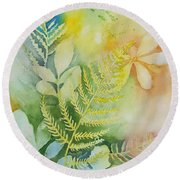 Ferns 'n' Leaves Round Beach Towel