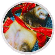 Round Beach Towel featuring the photograph Ferrety Christmas IIi by Cassandra Buckley