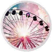 Ferris Wheel In Pink And Blue Round Beach Towel