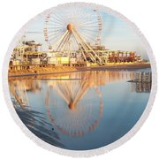 Ferris Wheel Jersey Shore 2 Round Beach Towel