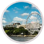 Ferris Wheel On The Brisbane River Round Beach Towel