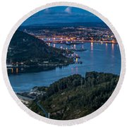 Round Beach Towel featuring the photograph Ferrol's Estuary Panorama From La Bailadora Galicia Spain by Pablo Avanzini