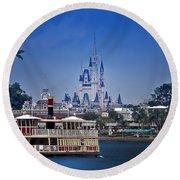 Ferry Boat Magic Kingdom Walt Disney World  Round Beach Towel