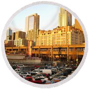 Ferry Lines At Sunset Round Beach Towel by David Trotter