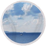 Ferry On Time Round Beach Towel by George Katechis