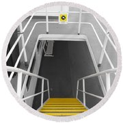 Round Beach Towel featuring the photograph Ferry Stairwell by Marilyn Wilson