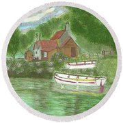 Ferryman's Cottage Round Beach Towel