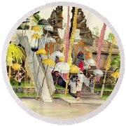 Festival Hindu Ceremony Round Beach Towel by Melly Terpening