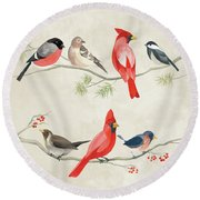 Festive Birds I Round Beach Towel