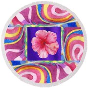 Festive Floral Hibiscus  Round Beach Towel