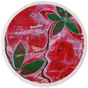 Round Beach Towel featuring the painting Festive Garden 1 by Jocelyn Friis