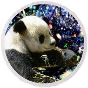 Festive Panda Round Beach Towel by Mariola Bitner