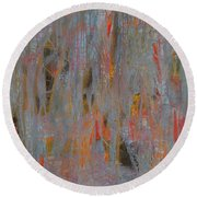Round Beach Towel featuring the painting Fibres Of My Being by Mini Arora