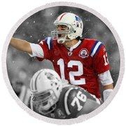 Field General Tom Brady  Round Beach Towel by Brian Reaves