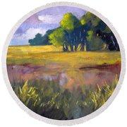 Field Grass Landscape Painting Round Beach Towel