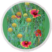 Round Beach Towel featuring the painting Field Of Color by Jennifer Muller