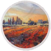 Field Of Light Oil Painting Round Beach Towel