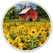 Field Of Sunflowers Round Beach Towel by Christopher Arndt