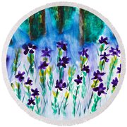 Field Of Violets Round Beach Towel