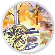 Field Rifles In Watercolor Round Beach Towel