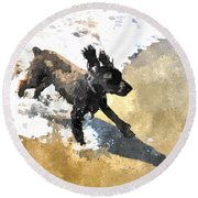Field Spaniel Joy Round Beach Towel by Susan Molnar
