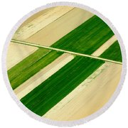 Fields In Spring 5 Round Beach Towel by Davorin Mance