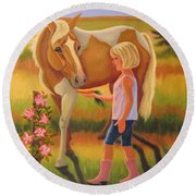 Fields Of Blessing Round Beach Towel