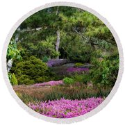 Round Beach Towel featuring the photograph Fields Of Heather by Jordan Blackstone