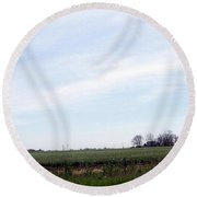 Round Beach Towel featuring the photograph Fields Of Source by Bobbee Rickard