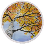 Fiery Aspen Round Beach Towel