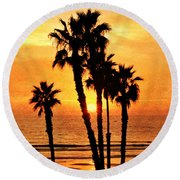 Fiery California Sunset Oceanside Beach Round Beach Towel