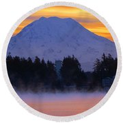 Round Beach Towel featuring the photograph Fiery Dawn by Tikvah's Hope