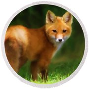 Fiery Fox Round Beach Towel